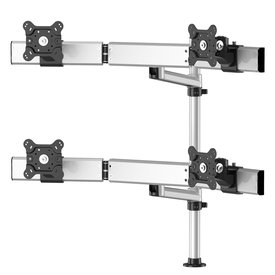 Quad Monitor with Arc Cross Bar and 7-in-1 Base, Swivel Arm