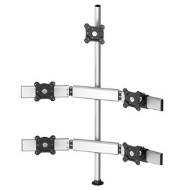 Five Monitors three rows with 7-in-1 Base Pole Mount