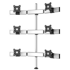 Six Monitors 3 Rows Straight or Oval with 7-in-1 Base Pole Mount