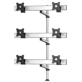 Six Monitors 3 Rows Swivel Arm, with Cross Bar and 7-in-1 Base Pole Mount