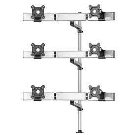 Six Monitors 3X2 Placed Straight or Oval with 7-in-1 Base Pole Mount