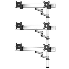 Six Monitors 3 row Dual Swivel Arm, with Cross Bar and 7-in-1 Base Pole Mount