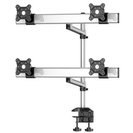 Quad Monitor Desk Mount with Crossbar and Swivel Arm
