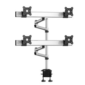 Quad Monitor Desk Mount with Crossbar and Dual Swivel Arm