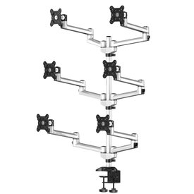 Six Monitors Desk Stand, With Dual Swivel Arm