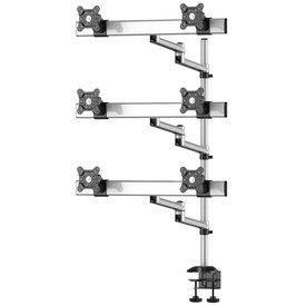Sky High Extra Long Desktop Monitor Mount for Six Monitors, Dual Swivel Arm