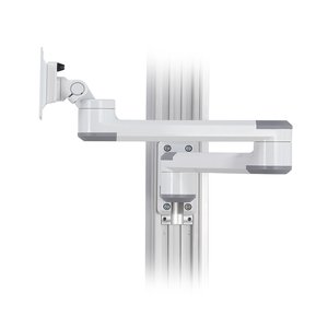 Track Wall System, Dual Swivel Arm LCD Monitor Wall Mount with Lateral Adjustability