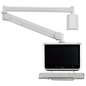 Clinical Care Adjustable LCD Monitor Wall Mount Arm with keyboard holder