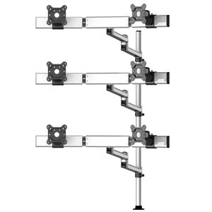 Six Monitors 3 Row Placed Straight or Oval with 7-in-1 Base Pole Mount