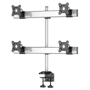 Quad Monitor Desk Mount with Crossbar Two Rows