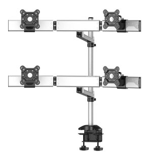 Quad Monitor Desk Mount with Arc Crossbar and Swivel Arm