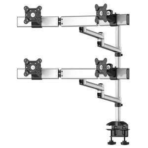 Quad Monitor Desk Mount with Arc Crossbar and Dual Swivel Arm