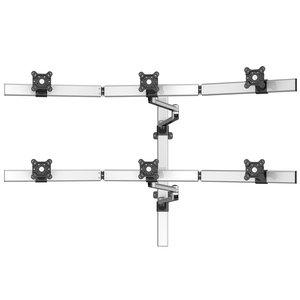 VastVu Dual-Arm Swivel Flat Panel Six Monitor Wall Mount